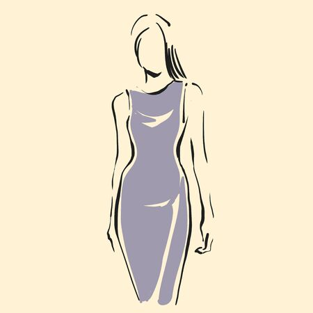 Contour of figure of young slender woman. Female silhouette logotype. Simple modern outline style with minimum color. Black line art. Hand drawn vector logo illustration, eps10. Graphic sign for your design 向量圖像