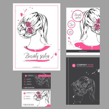 Big red set of hand drawn templates for card, flyer, poster, brochure and leaflet design. Fashion illustration with woman fits for fashion shop, magazine, spa salon, hairdresser salon Vector graphic.