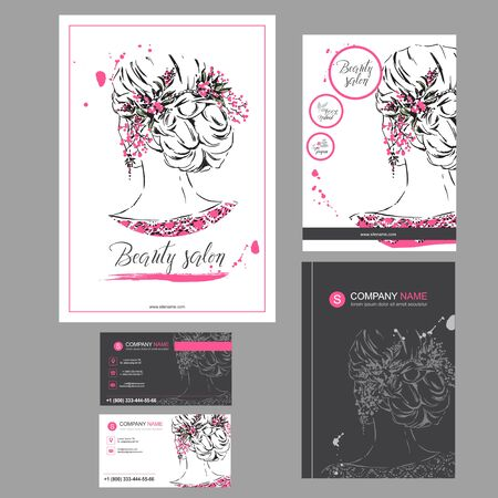 Big set of hand drawn templates for card, flyer, poster, brochure and leaflet design. Fashion illustration with woman fits for fashion shop, magazine, spa salon, hairdresser salon Vector graphic. Stockfoto - 143852599