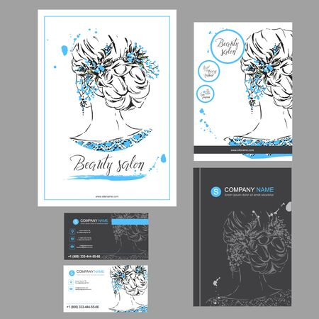 Big set of hand drawn templates for card, flyer, poster, brochure and leaflet design. Fashion illustration with woman fits for fashion shop, magazine, spa salon, hairdresser salon Vector graphic. 矢量图像