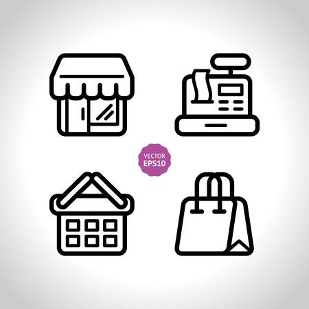cash register building: Shop  store, supermarket icons set. Flat.