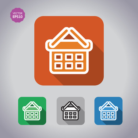 Colorful set Icons of shopping chart and basket. Flat long shadow illustration. Illustration