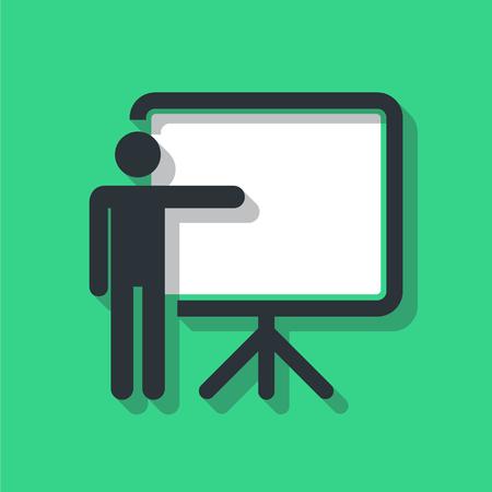 Training, presentation icon, conceptual symbol. Vector illustration. Illustration
