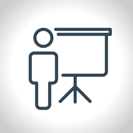 demonstrate: Training, presentation icon, conceptual symbol. Vector illustration. Illustration