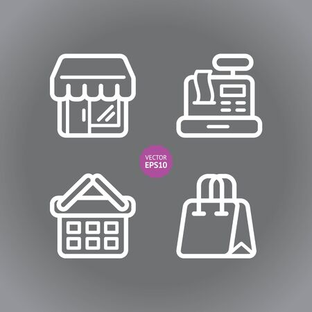 cash register building: Shop  store, supermarket vector icons set. Flat.