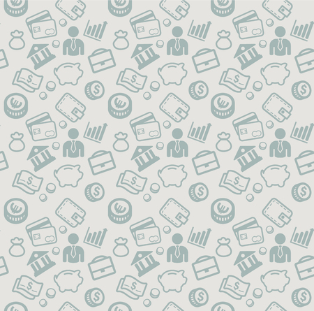 vector seamless pattern with business and money icons Stock Illustratie