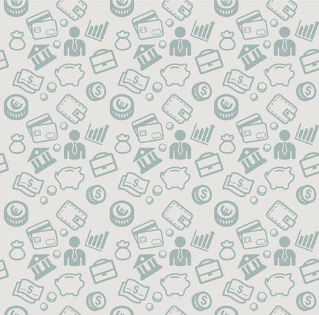 vector sin patrón con los iconos de negocios y dinero