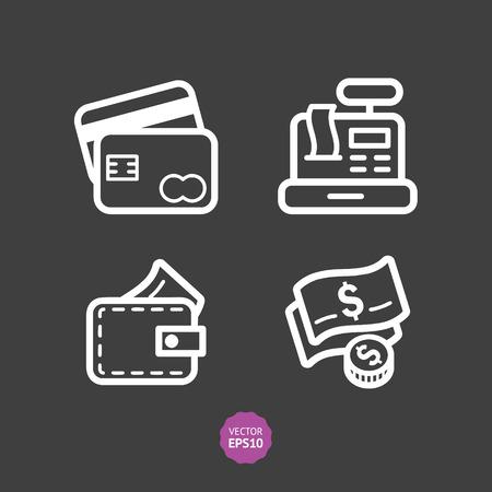 cash register building: Shop and store, supermarket vector icons set. Flat illustration.