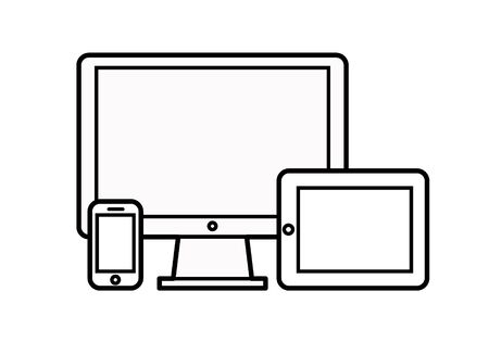responsive design: Device Icons: smart phone, tablet and desktop computer. Vector illustration of responsive web design.