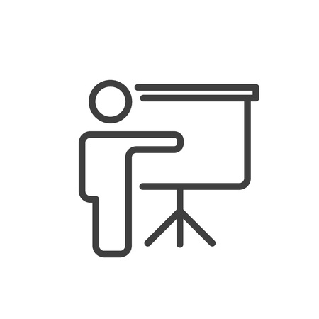 demonstrate: Training and presentation icon. Vector illustration. Black-white pictogramm