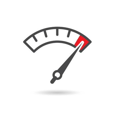 Colorful Info-graphic gauge element. Speedometer icon or sign with arrow. Vector. Stock Illustratie