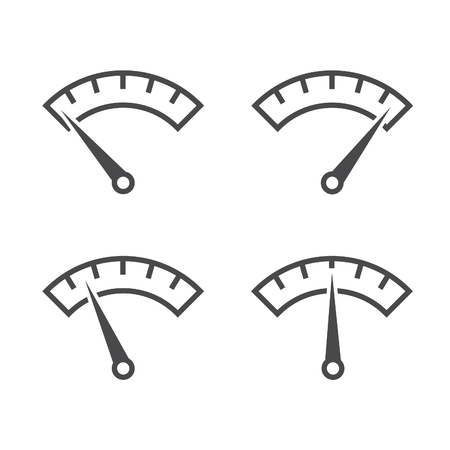 Colorful Info-graphic gauge element. Set of speedometer icon or sign with arrow. Vector. Illustration