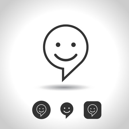 Set Smile Icon. Circle and square buttons. Happy face chat speech bubble symbol. Flat design. Stock Vector - 70812713