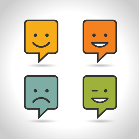 Set Smile Icon. Circle and square buttons. Happy face chat speech bubble symbol. Flat design. Illustration