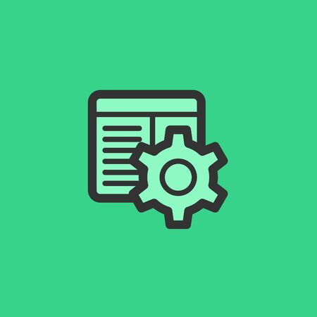 Vector Cog Settings Icon Symbol with System Window. Vector Illustration