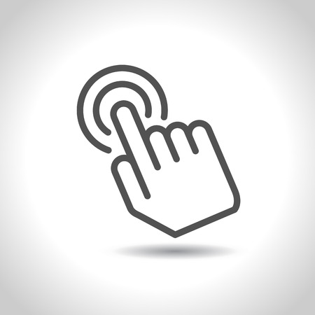 Click touch screen, hand icon. Vector Illustration Иллюстрация