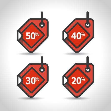 40: 50%, 40%, 30%, 20% sale price tag set sign icons. Discount symbol. Flat design set. Vector