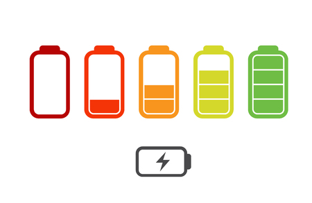 Battery charge icons - vector illustration. The battery icons with a various level of charge. Illustration
