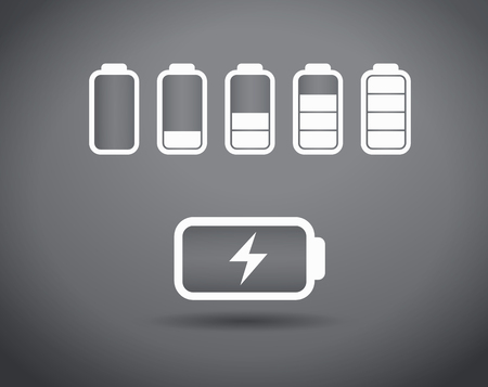 Battery charge icons - vector illustration. The battery icons with a various level of charge.  イラスト・ベクター素材