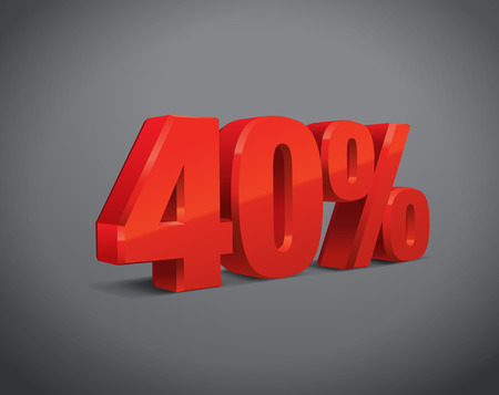 40: 40 percent off, sale background, object 3D. Eps10 Vector.
