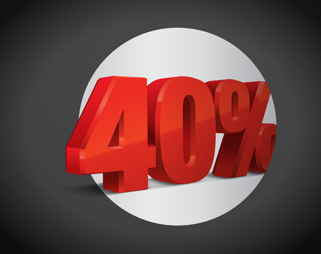 40 percent off, sale background, object 3D. Eps10 Vector.