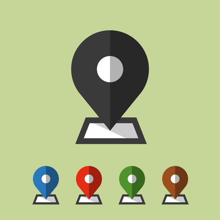 map pin icon. color set. flat design, vector