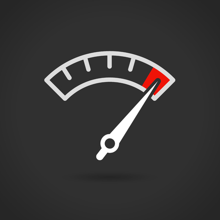 Colorful Info-graphic gauge element. Speedometer icon or sign with arrow. Vector