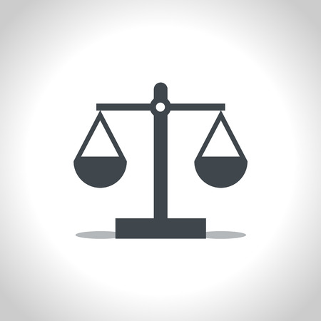 Pictogramm of justice scales. Choice, balance concept. Icon, vector, flat design.