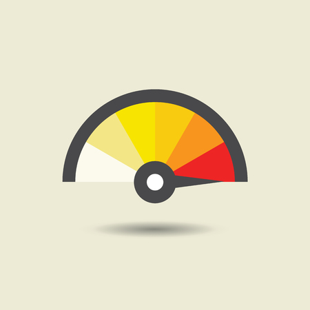 Colorful Info-graphic gauge element. Vector illustration. Speedometer icon or sign with arrow. Illustration