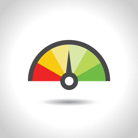 Colorful Info-graphic gauge element. Vector illustration. Speedometer icon or sign with arrow. Ilustração