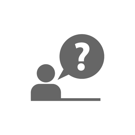 Pictogram of question mark. FAQ icon. Information exchange theme icon. Vector, flat, 10