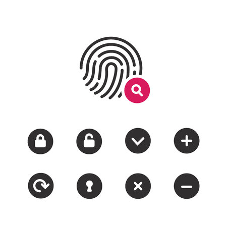 Fingerprint icon.Symbol for graphic and web design. flat vector illustration,pink color