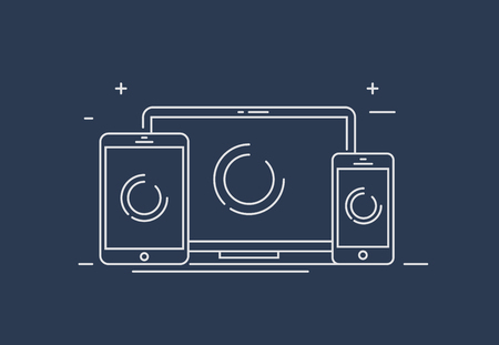 Device Illustration: smart phone, tablet and desktop computer. Vector icons or line draw of responsive web design.