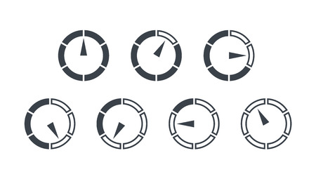 Info-graphic gauge elements. Speedometer set icons or sign with arrow. Vector.