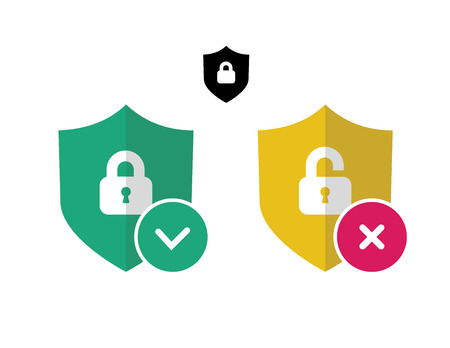 Security vector icons set. Protection sign. Shield vector icon.