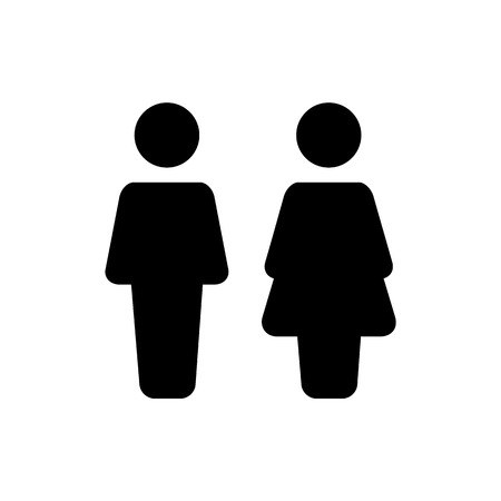 Man and woman icon. flat style. for bathroom or closet illustration Çizim