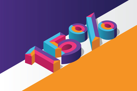 Isometric 15% percent off, 3D sale background, colorfull polygonal object. Eps10 Vector.