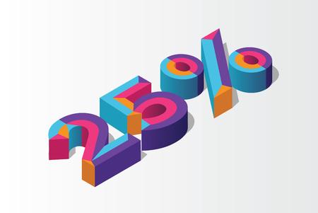 Isometric 25% percent off, 3D sale background, colorfull polygonal object. Eps10 Vector. Ilustração