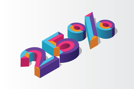 Isometric 25% percent off, 3D sale background, colorfull polygonal object. Eps10 Vector. Illustration