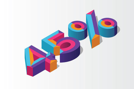 Isometric 45% percent off, 3D sale background, colorfull polygonal object. Eps10 Vector.