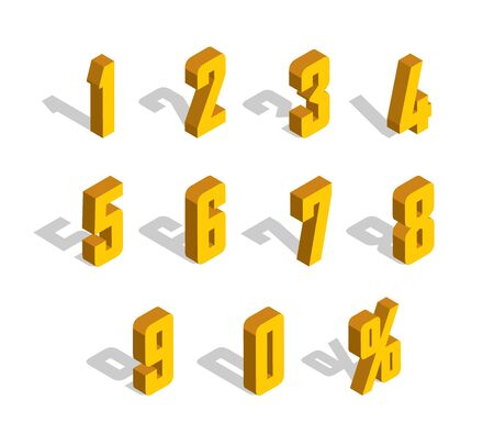 3D golden-yellow Isometric Letter. 0, 1, 2, 3, 4, 5, 6, 7, 8, 9 numeral alphabet. Vector Isolated Number. 矢量图像