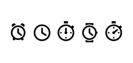 Clock set icons in trendy flat style isolated on white background. Clock set icons page symbol for your web site design icon logo, app, UI. Vector illustration,. Banco de Imagens - 132122063