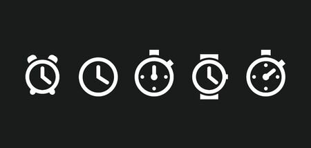 Clock set icons in trendy flat style isolated on white background. Clock set icons page symbol for your web site design icon logo, app, UI. Vector illustration,. Banco de Imagens - 132122073