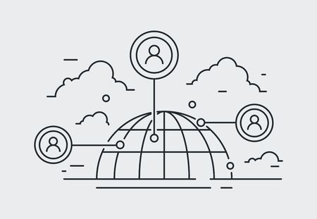 social network icon, people network connection illustration. contact, communication draw. line, vector