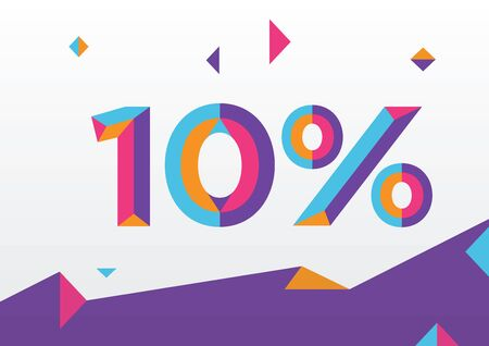10% percent off, sale background, colorfull polygonal triangle object. Illustration