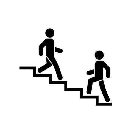 Upstairs-downstairs icon sign. Walk man in the stairs. Career symbol. flat design. Vector illustration. Ilustracja