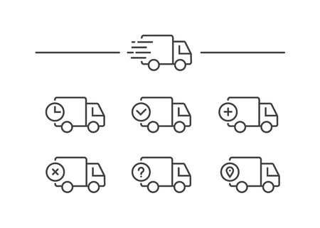 Fast shipping delivery truck. Set of Line icons. Vector illustration for apps and websites Stok Fotoğraf - 132122174