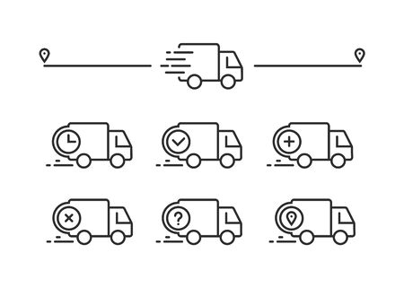 Fast shipping delivery truck. Set of Line icons. Vector illustration for apps and websites Illustration