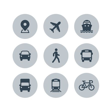Transport icons. Airplane, Public bus, Train, Ship  Ferry, Car, walk man, bike, truck and auto signs. Shipping delivery symbol. Air mail delivery sign. Vector Stock Illustratie