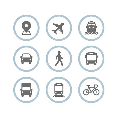 Transport icons. Airplane, Public bus, Train, Ship / Ferry, Car, walk man, bike, truck and auto signs. Shipping delivery symbol. Air mail delivery sign. Vector Stok Fotoğraf - 132122188